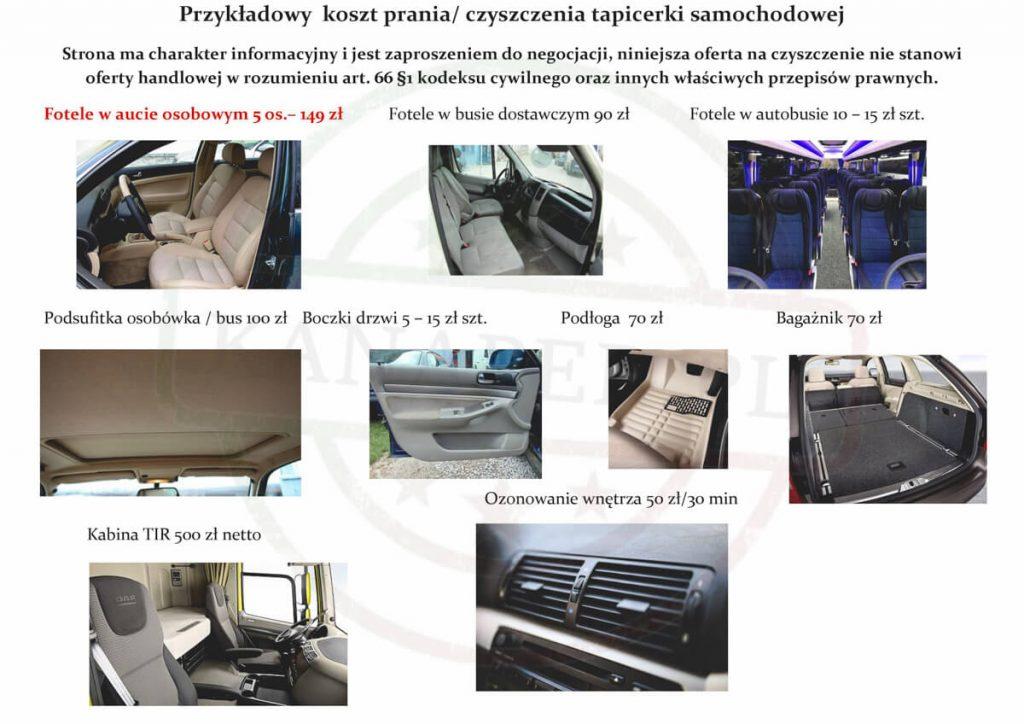 Cennik Prania Tapicerki Podsufitki Samochodowej Sierpc. Cennik Prania foteli samochodowych Płock. Cennik Prania tapicerki samochodowej Brodnica Rypin